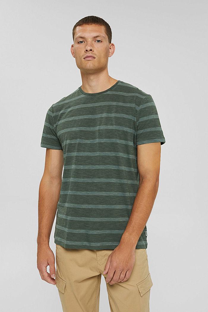 Jersey-T-Shirt im Streifenlook, TEAL BLUE, detail image number 0
