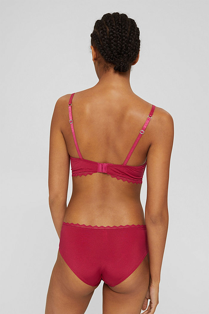 Padded non-wired bra with paisley pattern, DARK PINK, detail image number 1