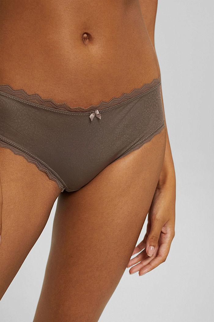 Hipster-shorts met motief en kanten details, TAUPE, detail image number 1