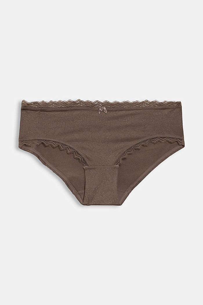 Hipster-shorts met motief en kanten details, TAUPE, detail image number 3