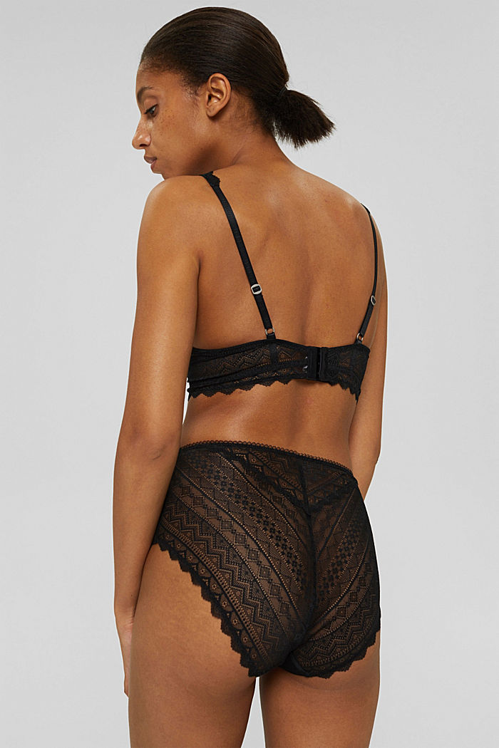 Recycled: padded underwire bra with lace, BLACK, detail image number 1