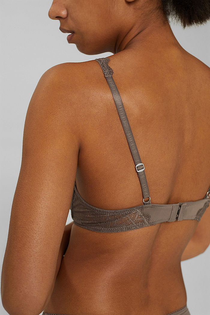 Recycelt: Push-Up-BH mit Spitze, TAUPE, detail image number 3