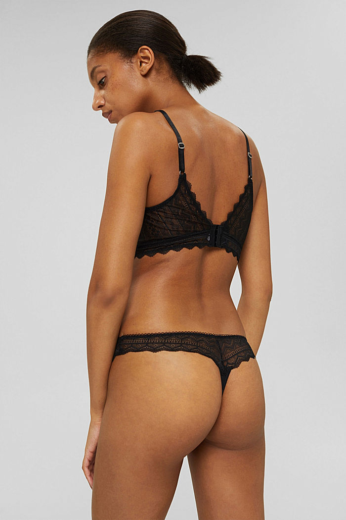 Recycled: lace thong, BLACK, detail image number 2