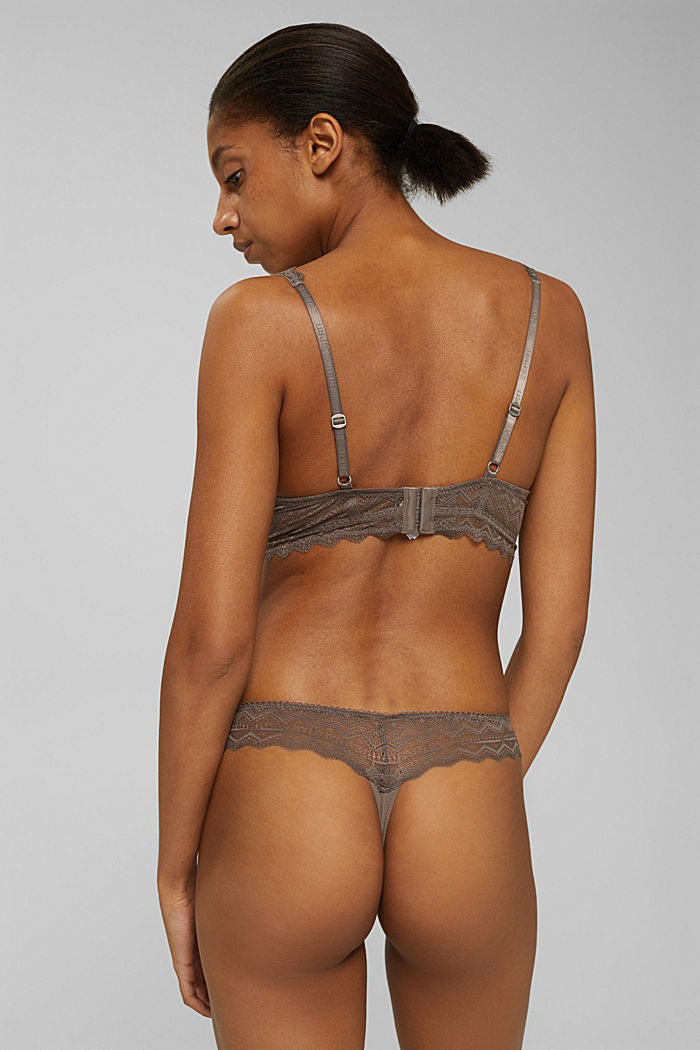 Recycelt: String aus Spitze, TAUPE, detail image number 2
