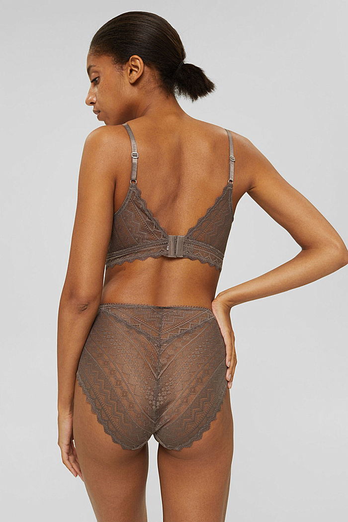 Recycled: high-waisted briefs made geometric lace, TAUPE, detail image number 2