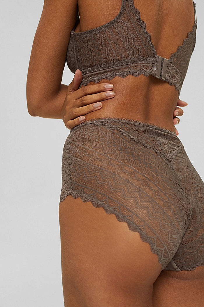 Recycled: high-waisted briefs made geometric lace, TAUPE, detail image number 1