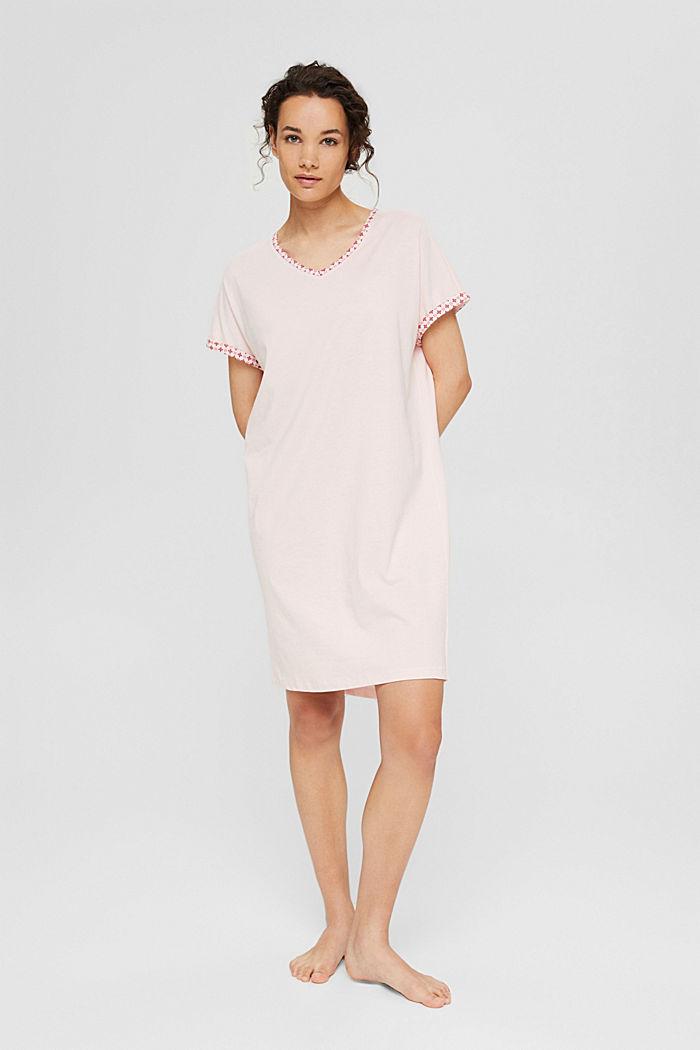 Jersey-Nachthemd aus 100% Organic Cotton, LIGHT PINK, detail image number 0