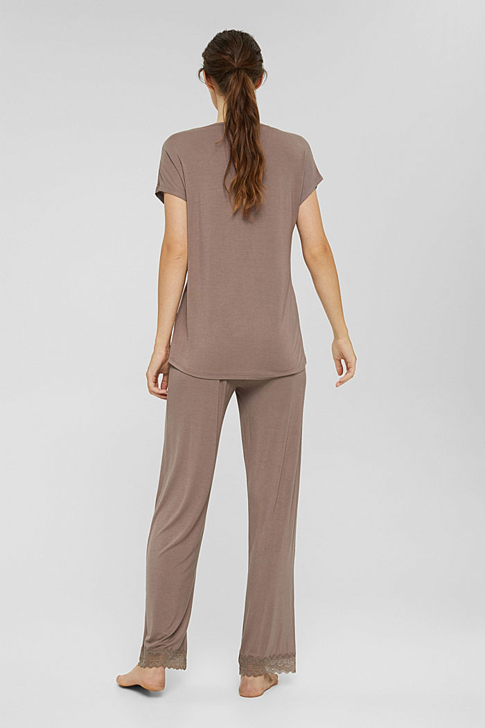Jersey pyjama van LENZING™ ECOVERO™, TAUPE, detail image number 2
