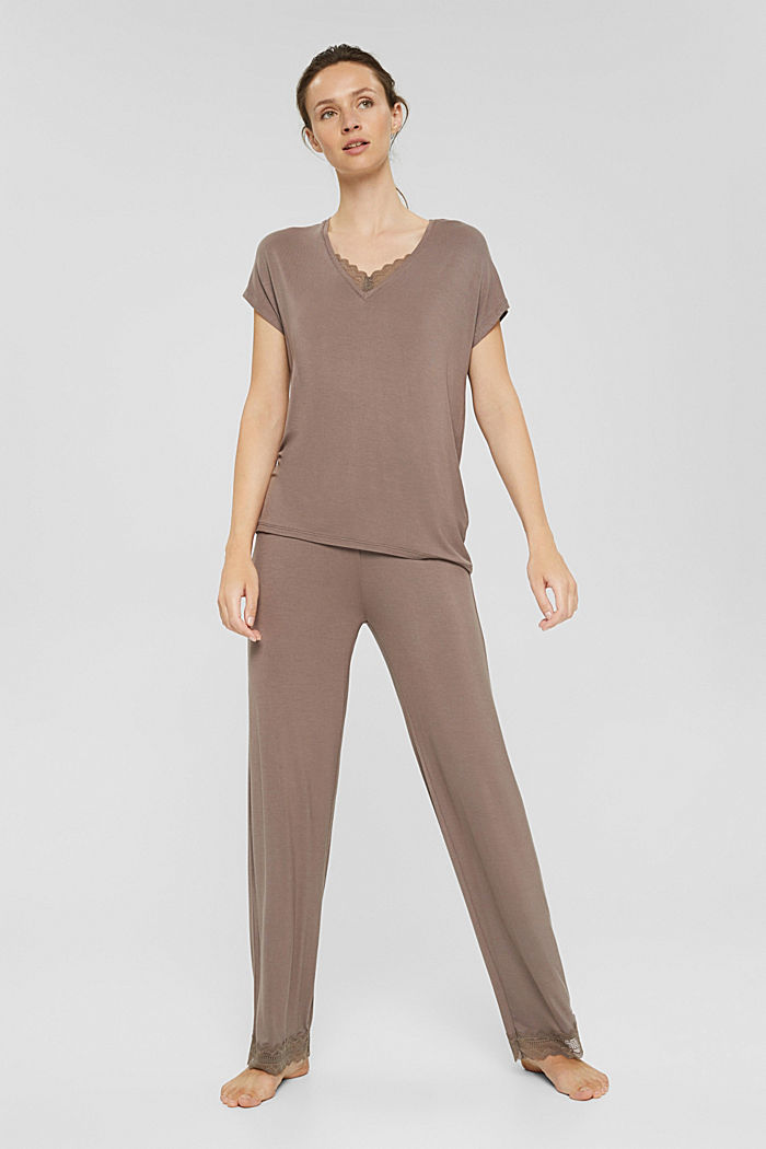Jersey pyjama van LENZING™ ECOVERO™, TAUPE, detail image number 0