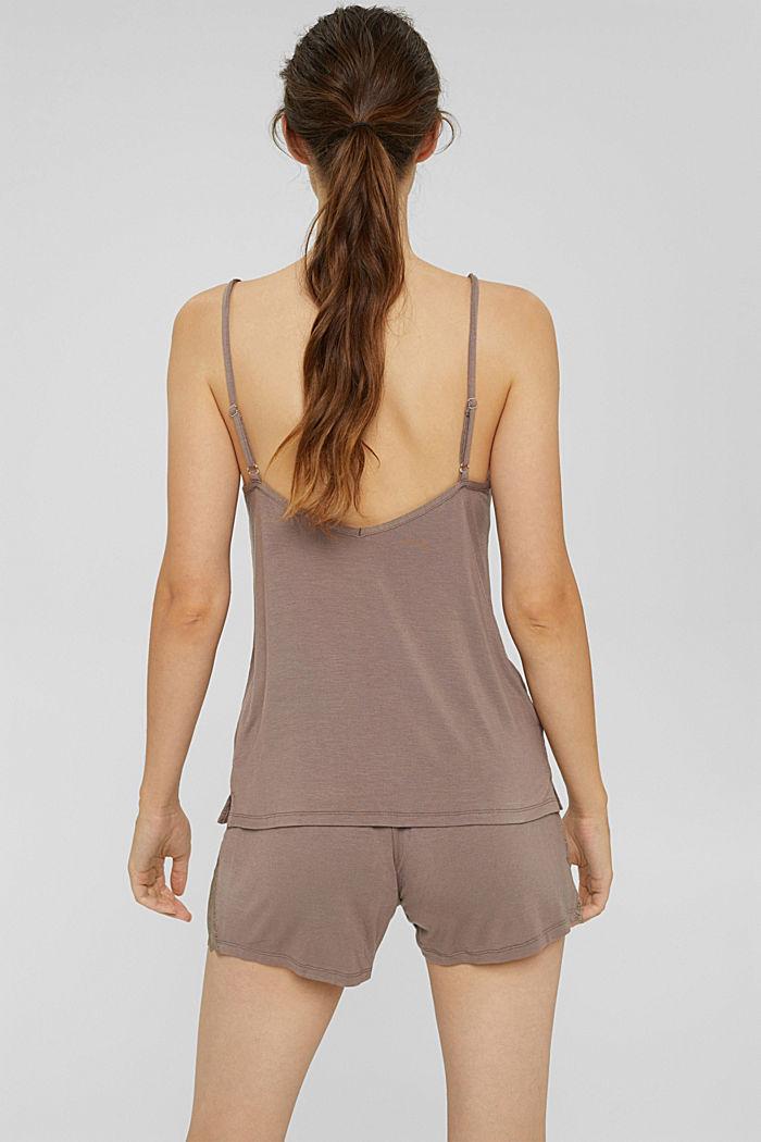 Kurzer Jersey-Pyjama aus LENZING™ ECOVERO™, TAUPE, detail image number 2