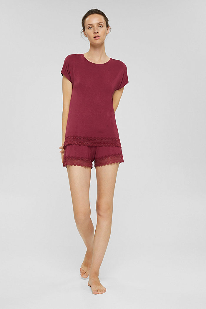 Kurzer Jersey-Pyjama aus LENZING™ ECOVERO™, DARK RED, detail image number 0