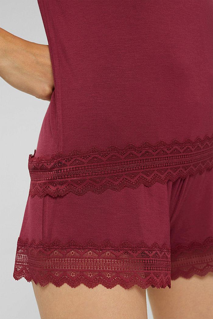 Kurzer Jersey-Pyjama aus LENZING™ ECOVERO™, DARK RED, detail image number 3