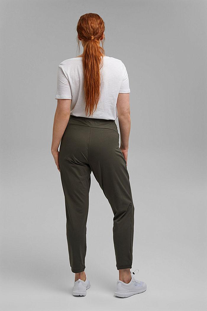 Pantalon de jogging longueur chevilles en coton biologique stretch, DARK KHAKI, detail image number 3