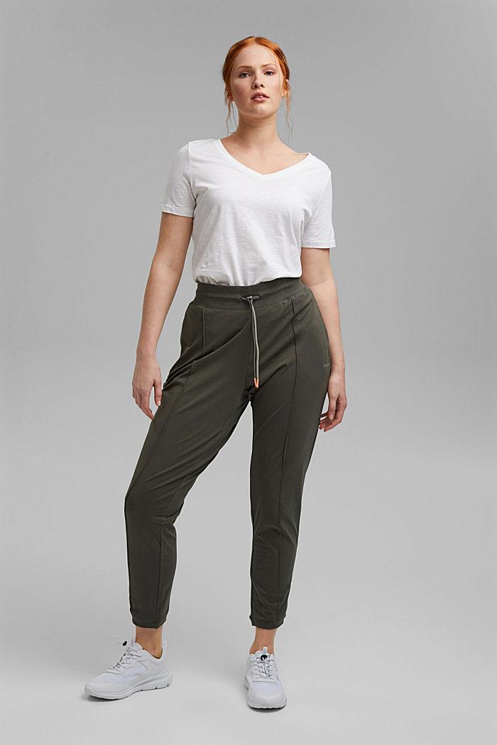 Pantalon de jogging longueur chevilles en coton biologique stretch, DARK KHAKI, detail image number 1