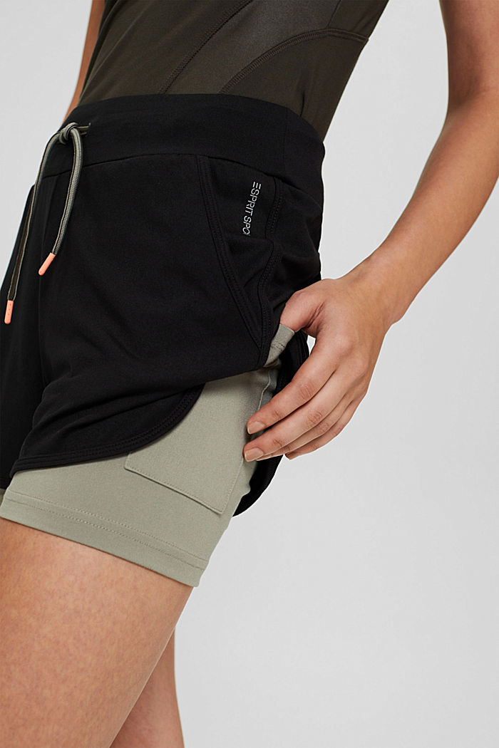 Recycelt: Double-Layer-Shorts, BLACK, detail image number 2