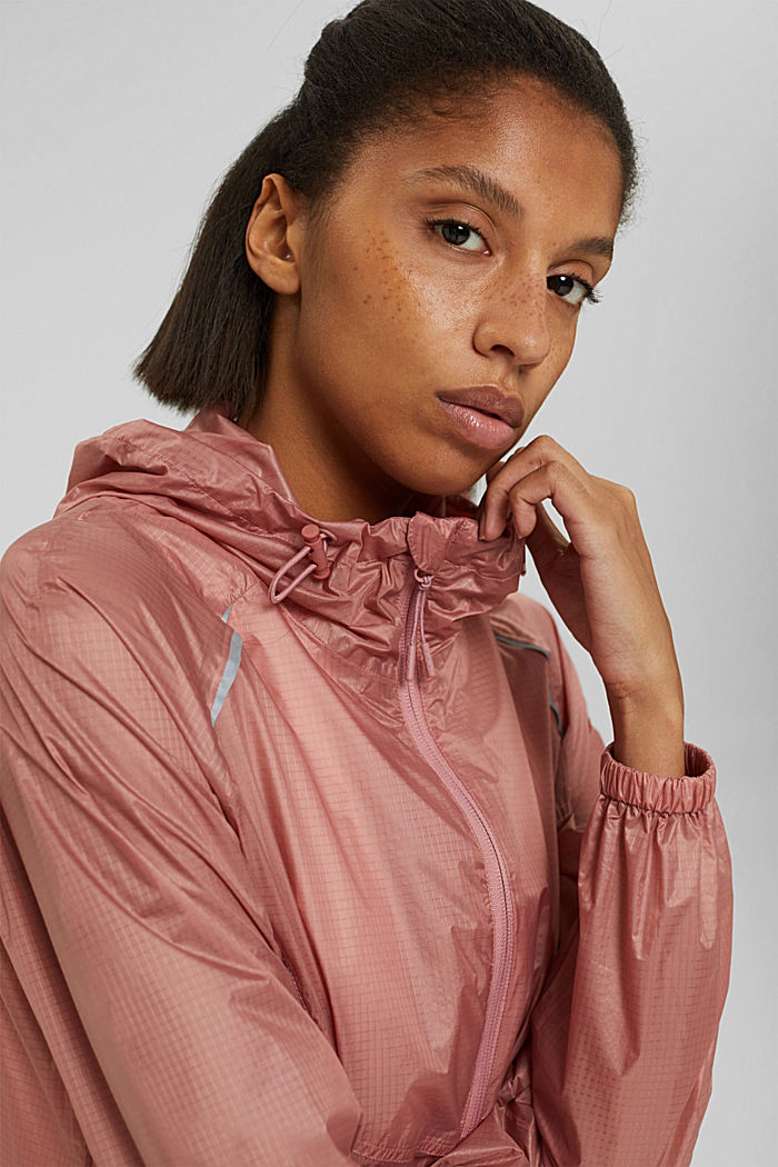 Water-resistant jacket with reflective details, OLD PINK, detail image number 6