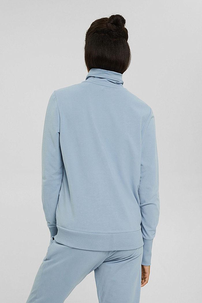 Cardigan molletonné à col montant, coton biologique, PASTEL BLUE, detail image number 3