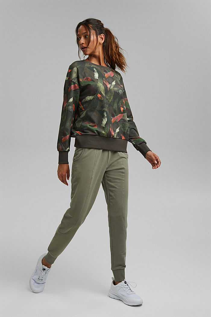 Sweatshirt met botanische print, biologisch katoen, DARK KHAKI, detail image number 1