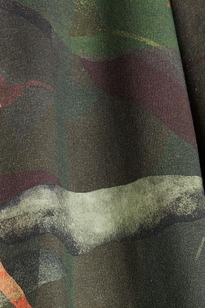 Sweatshirt met botanische print, biologisch katoen, DARK KHAKI, detail image number 4