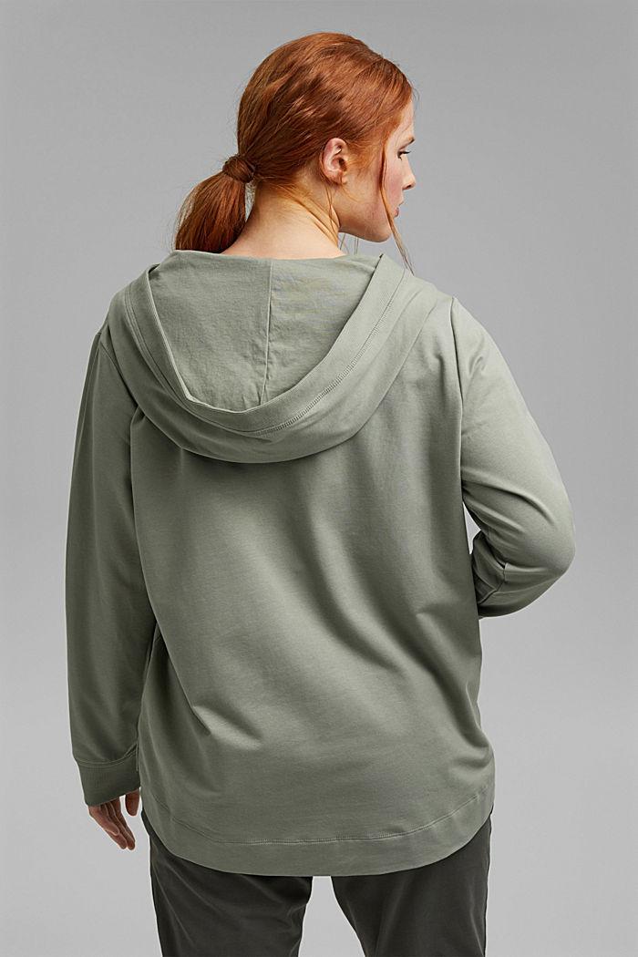 CURVY sweatshirt hoodie, stretch organic cotton, LIGHT KHAKI, detail image number 3