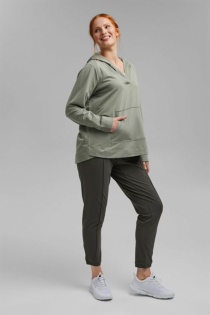 CURVY sweatshirt hoodie, stretch organic cotton, LIGHT KHAKI, detail image number 1