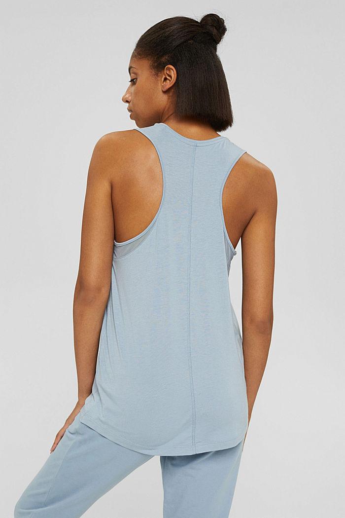 Van biologisch katoen/TENCEL™: shirt met mesh, PASTEL BLUE, detail image number 3