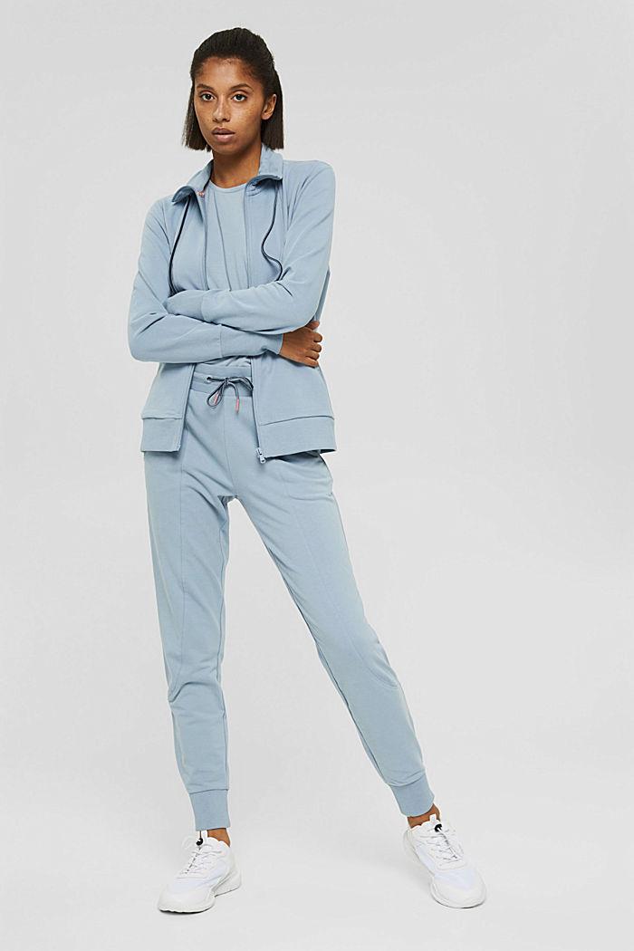 Van biologisch katoen/TENCEL™: shirt met mesh, PASTEL BLUE, detail image number 1