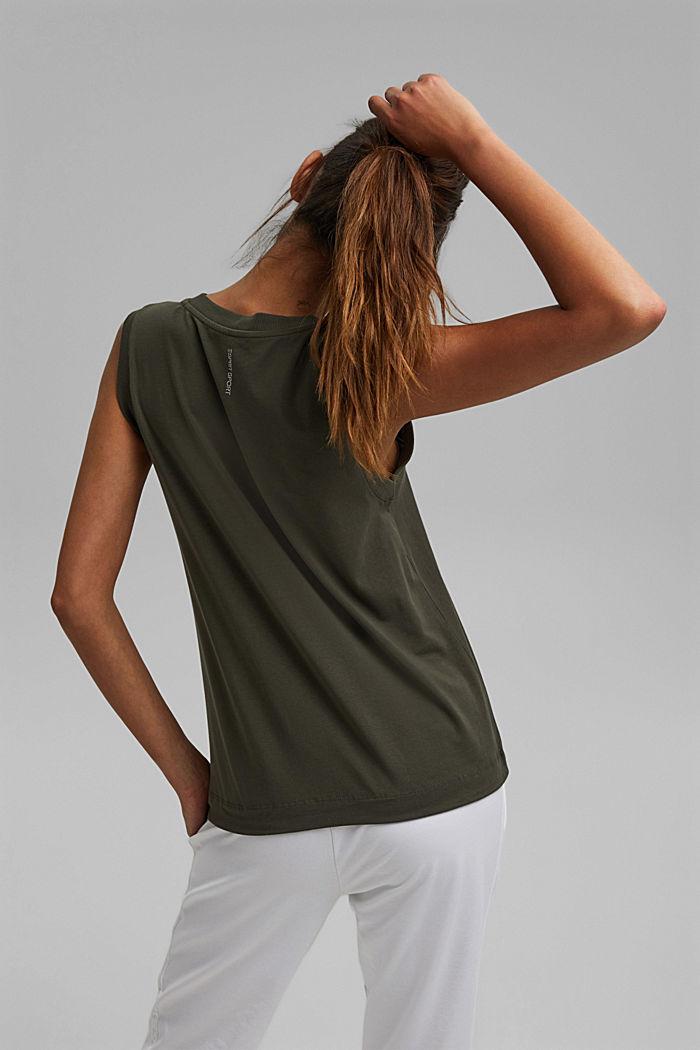Sleeveless top with a drawstring, organic cotton, DARK KHAKI, detail image number 3