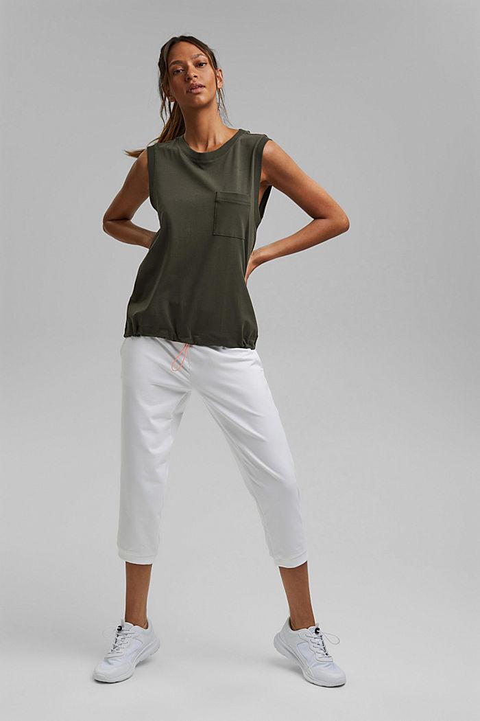 Sleeveless top with a drawstring, organic cotton, DARK KHAKI, detail image number 1