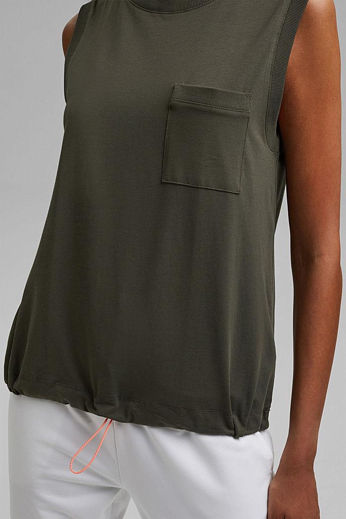 Sleeveless top with a drawstring, organic cotton, DARK KHAKI, detail image number 2