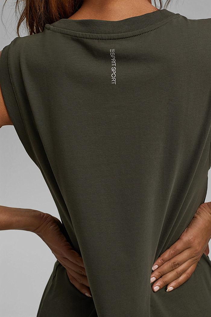 Sleeveless top with a drawstring, organic cotton, DARK KHAKI, detail image number 5