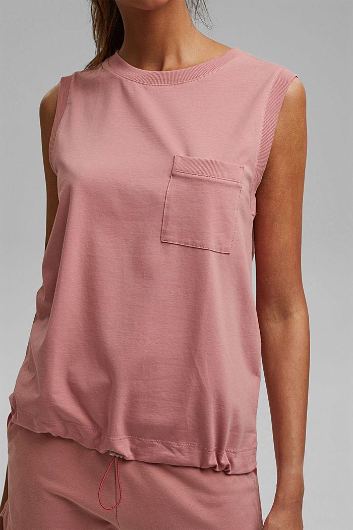 Mouwloos shirt met tunnelkoord, biologisch katoen, OLD PINK, detail image number 2