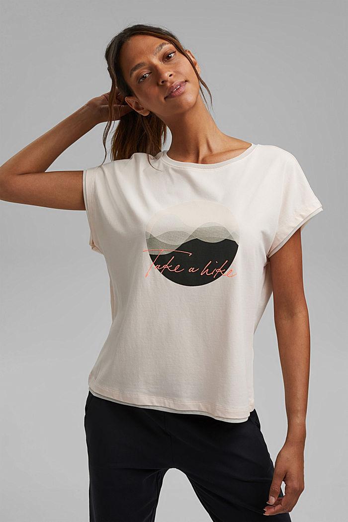 T-shirt met print en mesh details, biologisch katoen