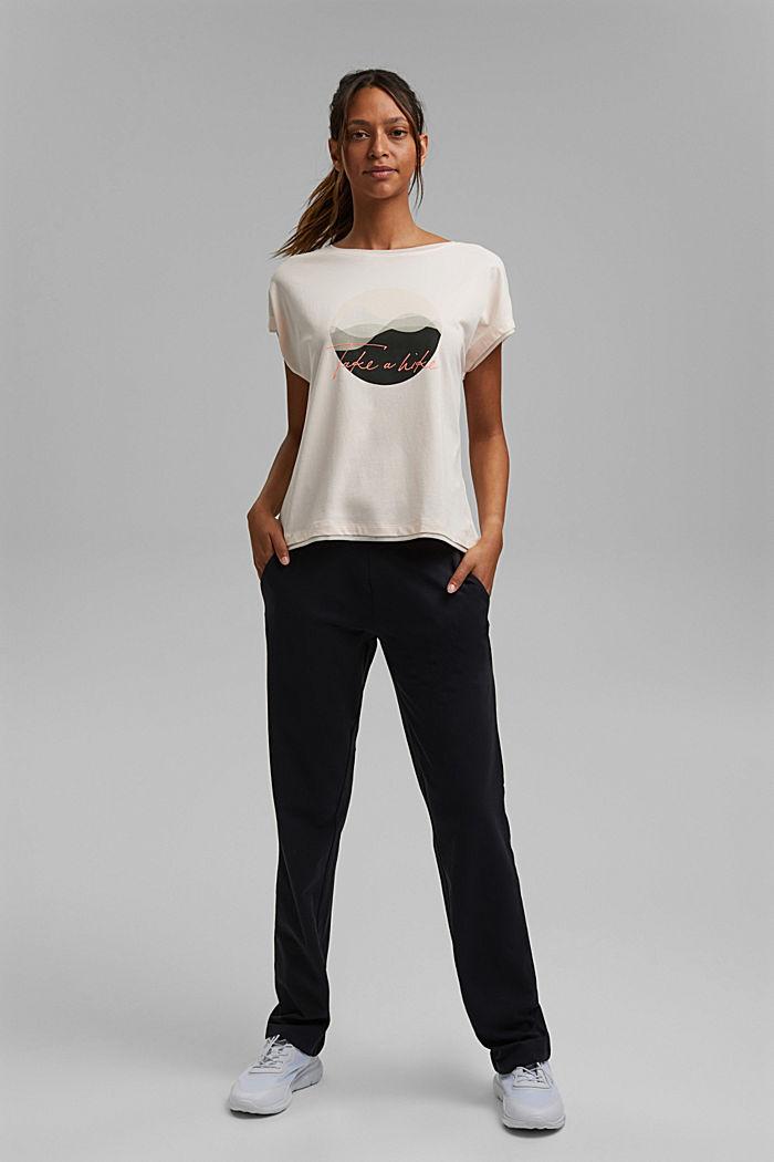 Printed T-shirt with mesh details, organic cotton, PASTEL PINK, detail image number 1