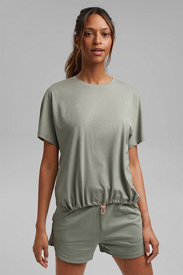 Van biologisch katoen/TENCEL™: shirt met tunnelkoord, LIGHT KHAKI, detail image number 0