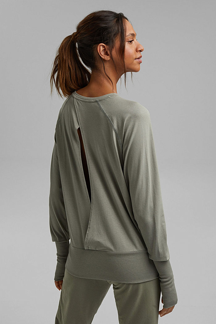Coton biologique/TENCEL™: t-shirt à manches longues et découpe, LIGHT KHAKI, detail image number 3