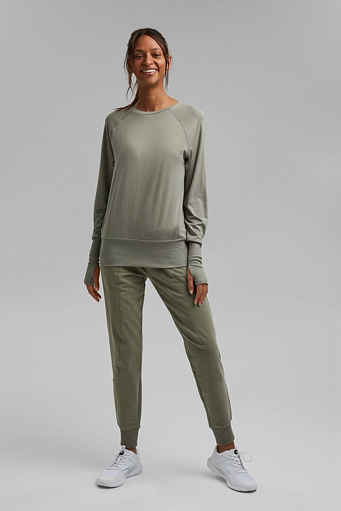Coton biologique/TENCEL™: t-shirt à manches longues et découpe, LIGHT KHAKI, detail image number 1