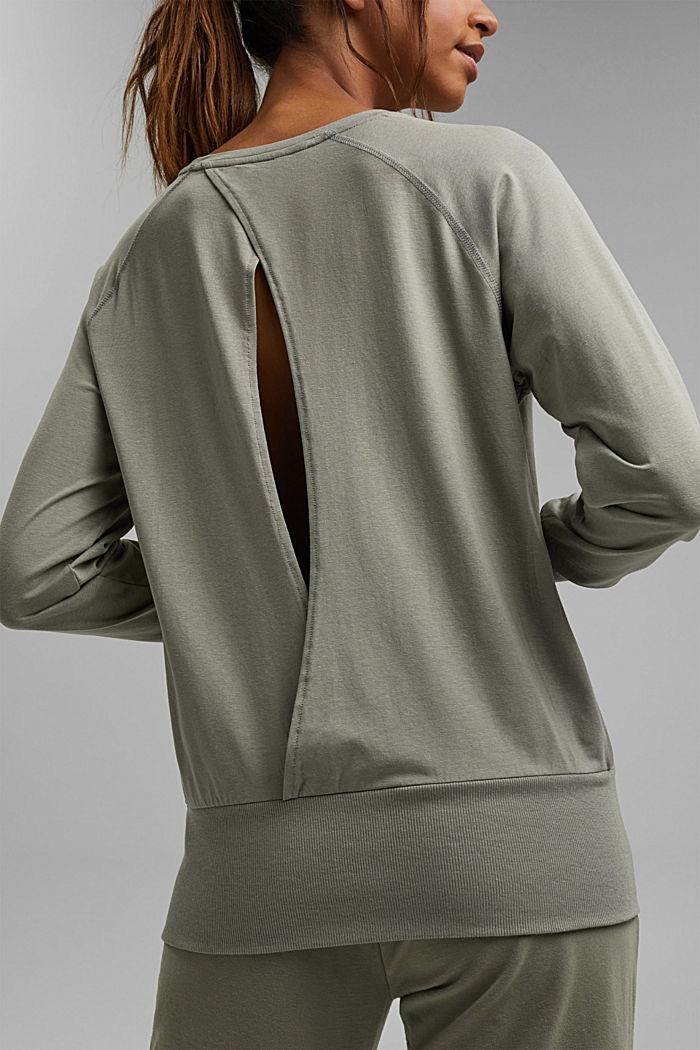Coton biologique/TENCEL™: t-shirt à manches longues et découpe, LIGHT KHAKI, detail image number 2
