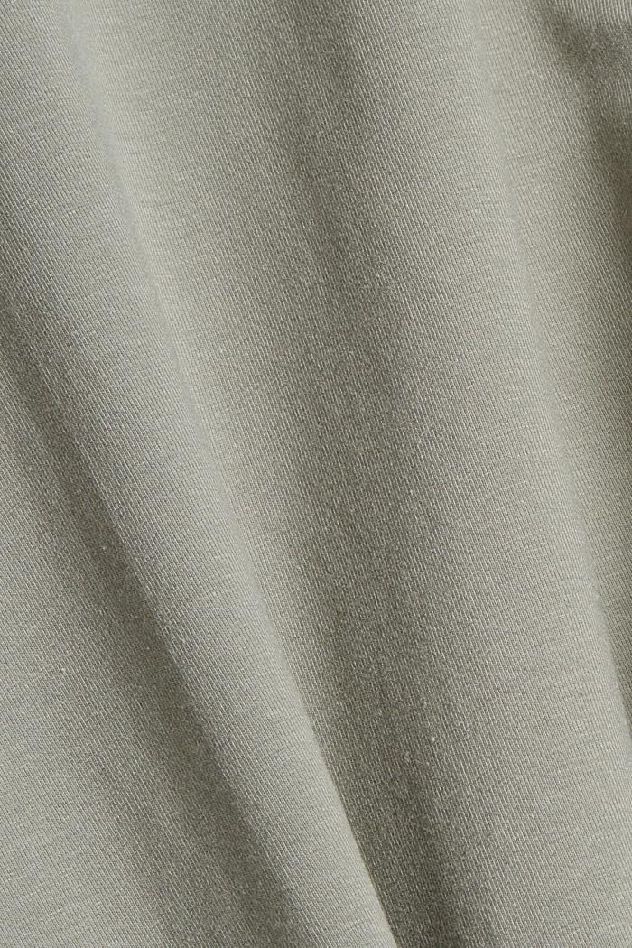 Coton biologique/TENCEL™: t-shirt à manches longues et découpe, LIGHT KHAKI, detail image number 4