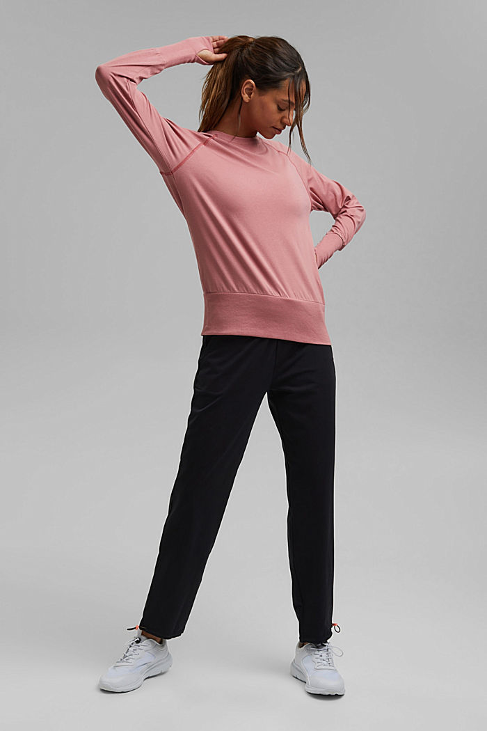 Organic cotton/TENCEL™: long sleeve top with cut-out, OLD PINK, detail image number 1