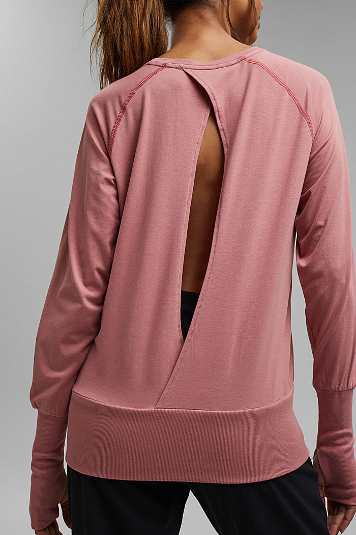 Organic cotton/TENCEL™: long sleeve top with cut-out, OLD PINK, detail image number 2