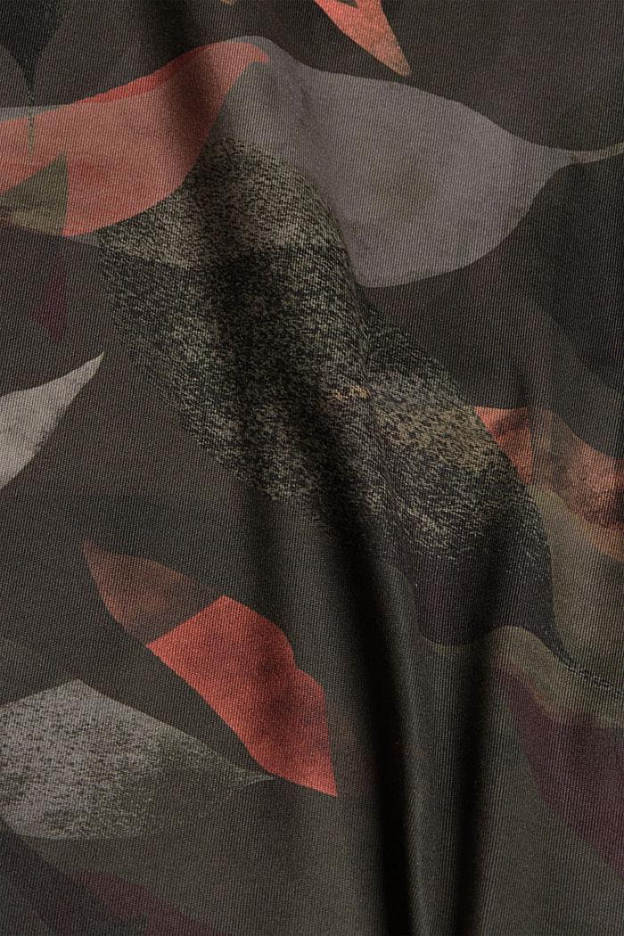 Gerecycled: top met print en E-DRY, DARK KHAKI, detail image number 4