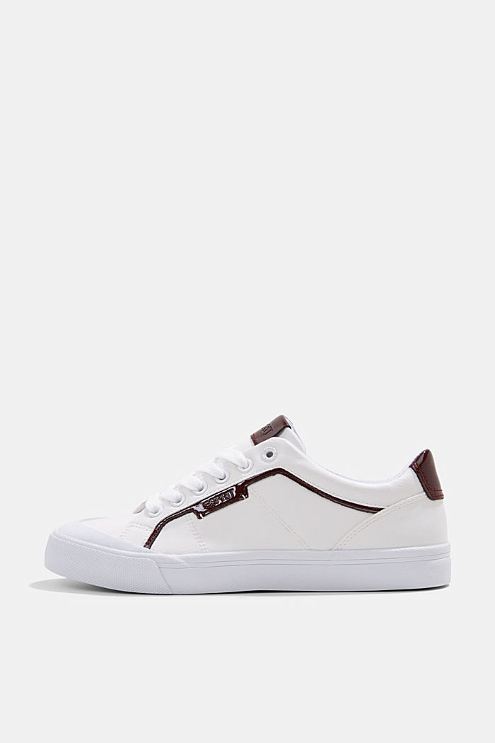 Material blend trainers in faux leather