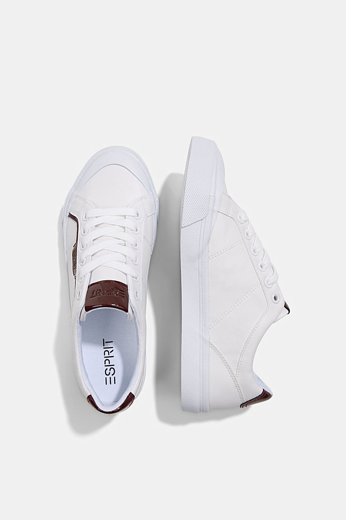Material blend trainers in faux leather, WHITE, detail image number 1