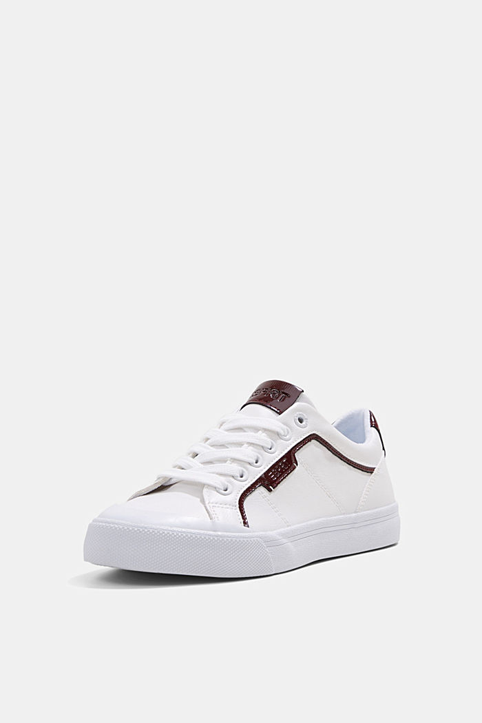 Material blend trainers in faux leather, WHITE, detail image number 2