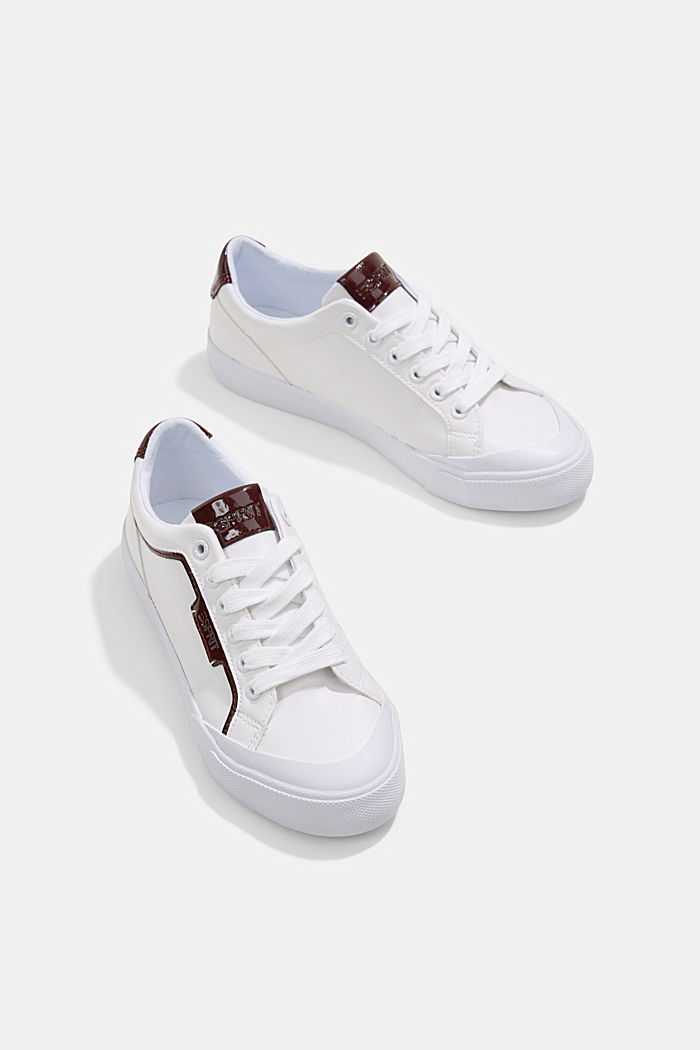 Material blend trainers in faux leather, WHITE, detail image number 6