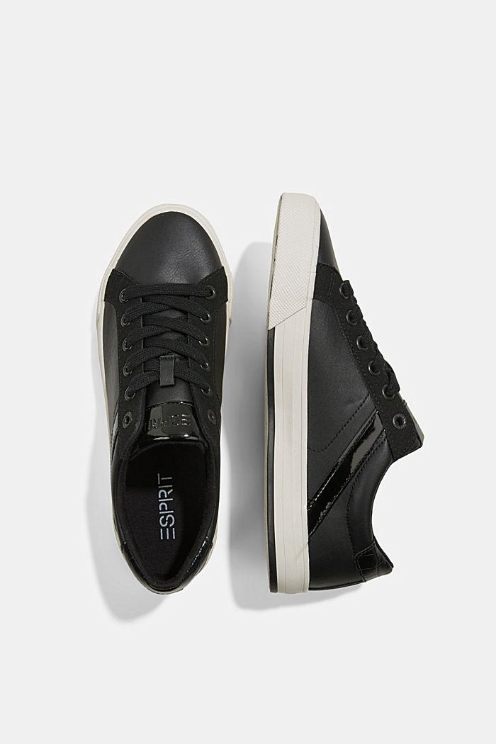 Sneakers van een materiaalmix van imitatieleer, BLACK, detail image number 1