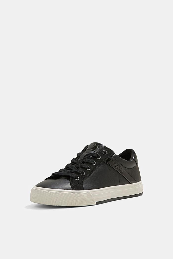 Sneakers van een materiaalmix van imitatieleer, BLACK, detail image number 2
