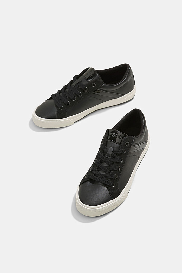 Sneakers van een materiaalmix van imitatieleer, BLACK, detail image number 6