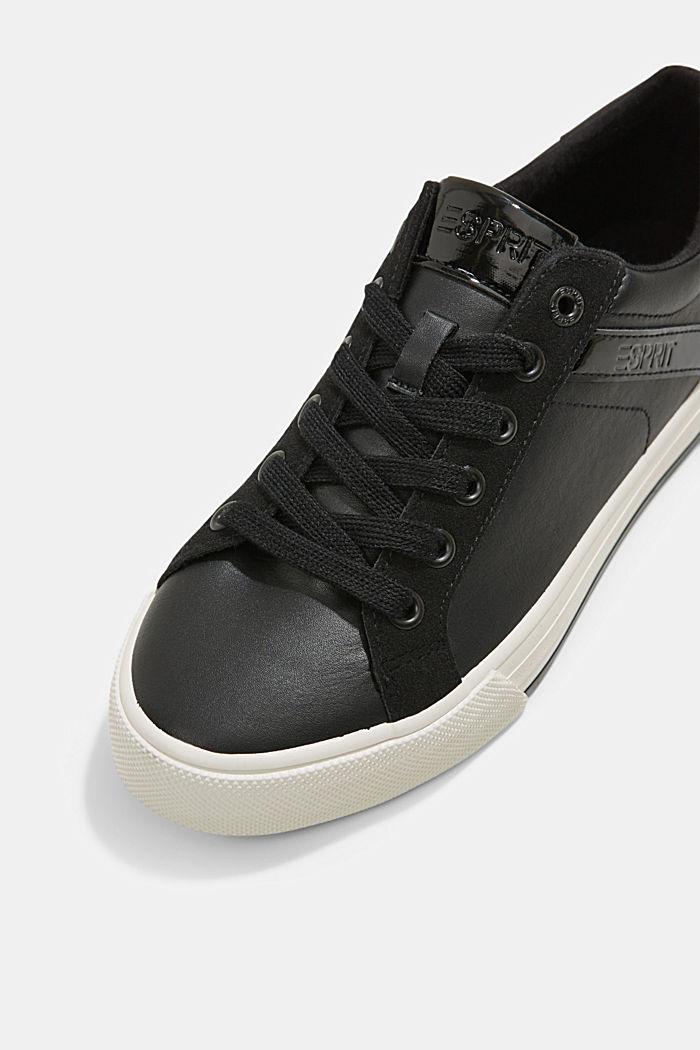 Sneakers van een materiaalmix van imitatieleer, BLACK, detail image number 4